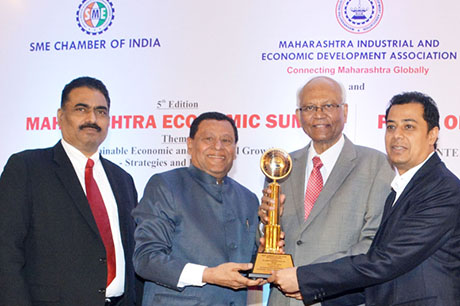 Dr. Raghunath Mashelkar, President of Global Research Alliance & Former Director General of Council of Scientific & Industrial Research (CSIR) presenting PRIDE OF MAHARASHTRA AWARD 2018 for BEST COMPANY OF THE YEAR (Manufacturing - Plastics) to Al-Aziz Plastics Pvt. Ltd., Mumbai. Award received by Mr. Uday Adhikari, Managing Director and Mr. Sagar Adhikari, Director, Al-Aziz Plastics Pvt. Ltd. Shri. Chandrakant Salunkhe, Founder & President, Maharashtra Industrial & Economic Development Association and SME Chamber of India were present